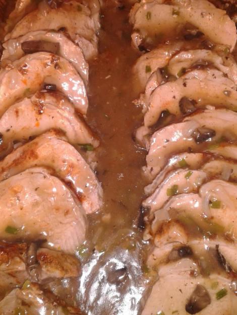 The Roasted Pork Loin in a Portabella Mushroom Sweet Onion Gravy
