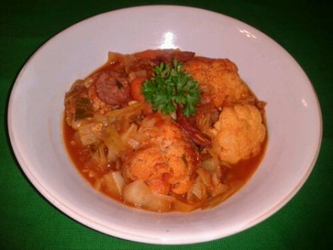 The Cauliflower Vegetable Stew with Smothered Cabbage