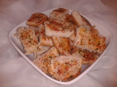 The Pan Toasted Garlic Bread Bites (made with white, hot dog buns)