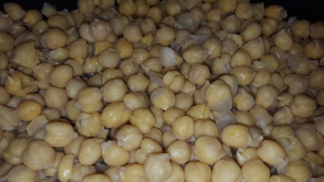 Step 3 - Your beans should look like this, after the water has been removed. I find it's easier to blend the chick peas when they are hot like this.